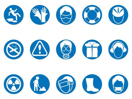 Los iconos azules aislados del botón redondo de la seguridad del trabajo fijaron del fondo blanco