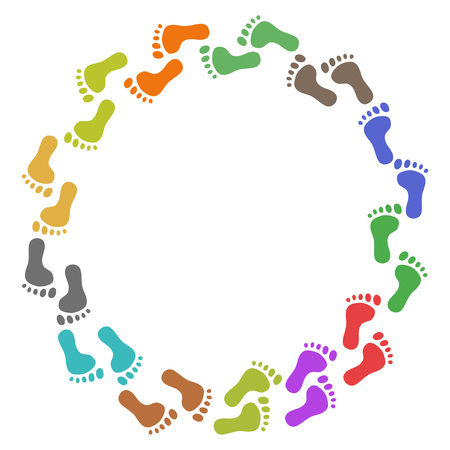 isolated color feet around with copy space on white background Illustration