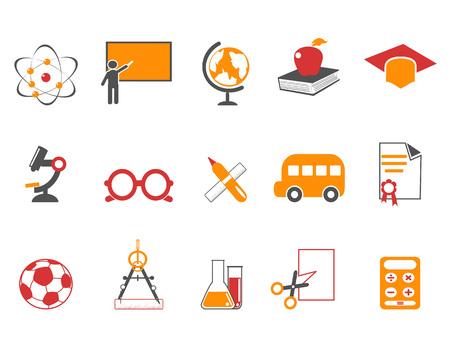 isolated orange education icons set from white background