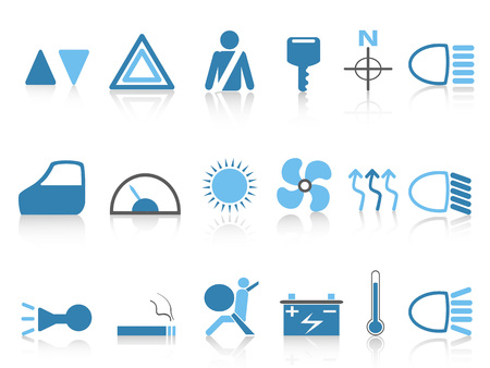 Isolated blue car dashboard icons.