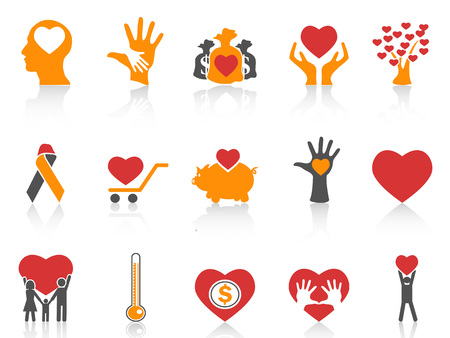 Isolated orange color charity icons. Illustration