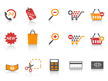 isolated orange red color series shopping icons set from white background
