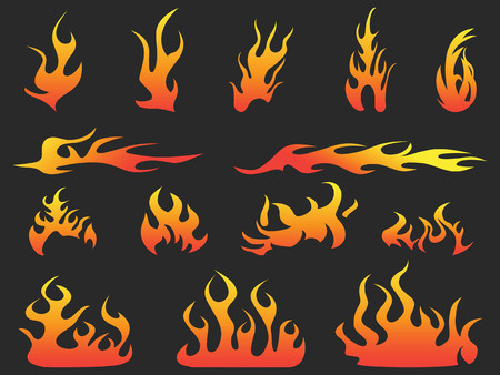 isolated abstract color fire patterns on black background Illustration