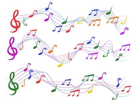 notes de musique colorées isolées de fond blanc Vecteurs