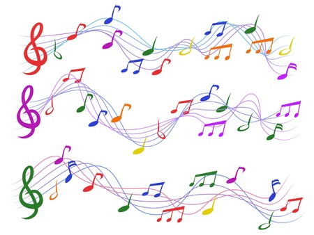 isolated colorful musical notes from white background Illustration