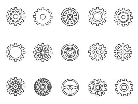 Geïsoleerde versnellingen overzicht pictogrammen instellen van witte achtergrond Stockfoto - 89537522