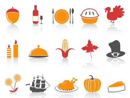 isolated orange and red color series thanksgiving icons set from white background