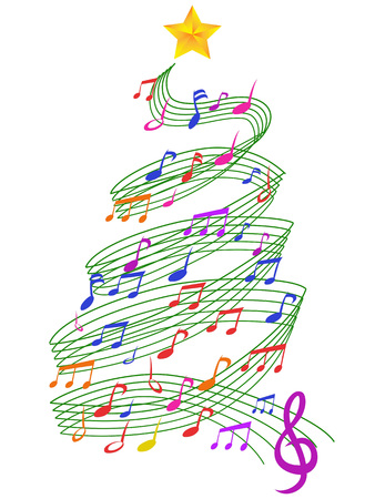 isolated colorful Music Christmas Tree from white background