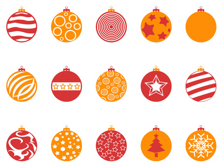 Orange and red color Christmas ball icons set on white background. Illustration