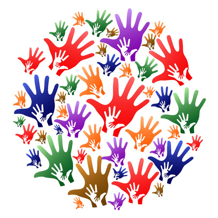 Colorful caring hands circle on white background.