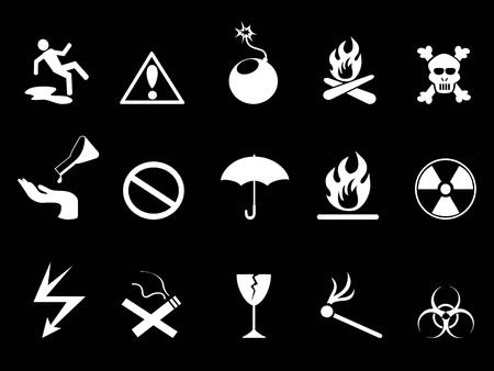 Warning symbol, hazard warning icons set on black background.