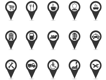 isolated black location place gps pin icons set from white background Vectores