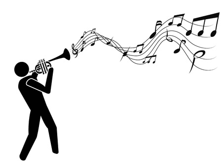 isolado as pessoas com trompete soprando notas musicais no fundo branco Ilustración de vector