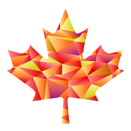 Isolated the design of polygon autumn maple leaf on white background Çizim
