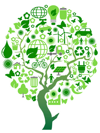 isolated green environment eco tree on white background