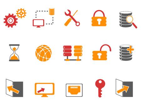isolated orange and red color database technology icons set on white background Illustration