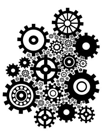 geïsoleerde zwarte versnellingen groep ingesteld op witte achtergrond Stock Illustratie