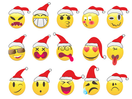 isolated Christmas smiley face icons set on white background