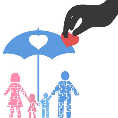 Isolated hand picking up heart from family puzzle from white background