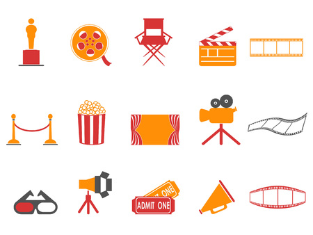 Isolated orange and red color series movies icons set from white background