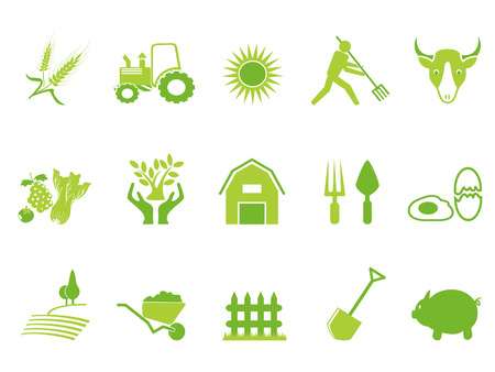 Isolated green color farm icon set from white background
