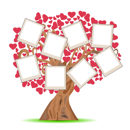 Isolated heart tree with picture frames on white background Illustration