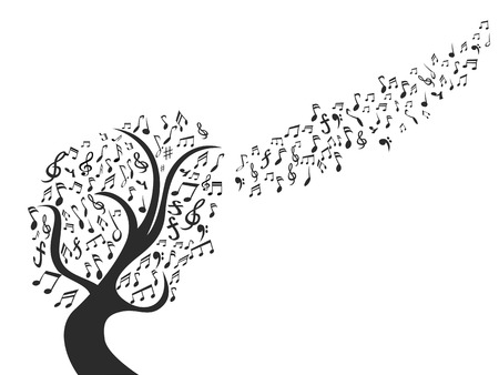 Tree with musical notes as leaves icon Illustration