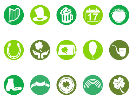isolated green round st Patricks day button icons set from white background