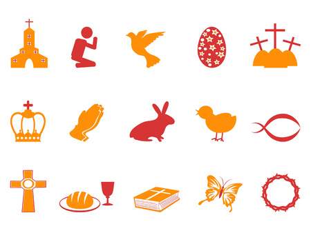 isolated orange and red color easter day icons set from white background Illustration
