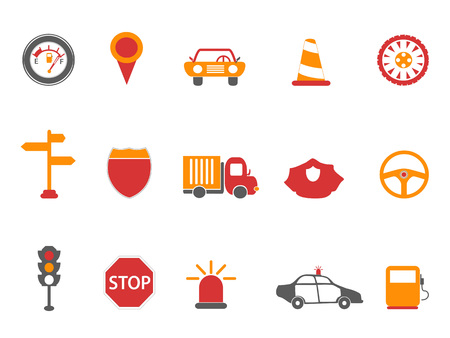 isolated orange and red color traffic icons set from white background Illustration