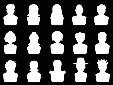 isolated white avatar icons set on black background Illustration