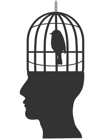 isolated human head with bird cage from white background