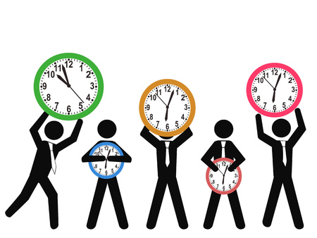 isolated businessman with clocks on white background