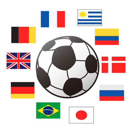 isolaetd country flags around the soccer ball from white background