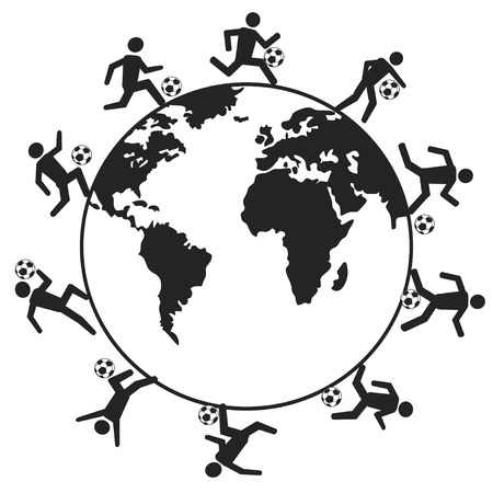 isolated soccer players around the world from white background