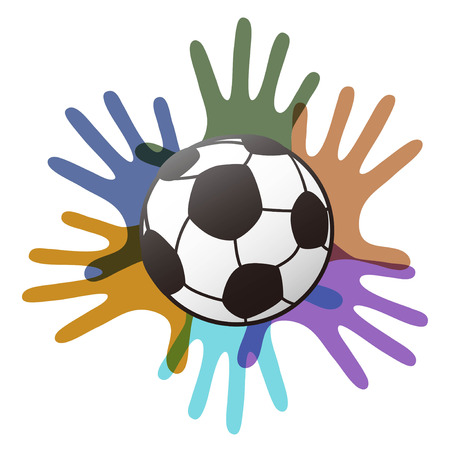 isolated soccer ball on color hands from white background