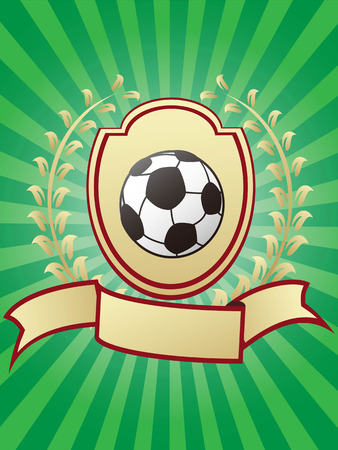 soccer championship design shiny gold shield laurel ribbon banner on green sunray background