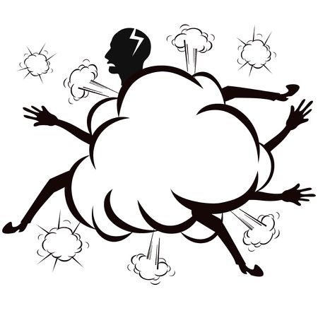Isolated the fighting cloud ,comic style ,vector on white background Illustration