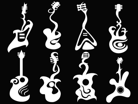 isolated white abstract guitar from  black background