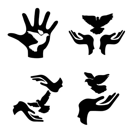 isolated hands with pigeon icons set from white backgronud Stock Illustratie