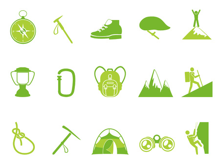 isolated green color climbing mountain icons set from white background Illustration
