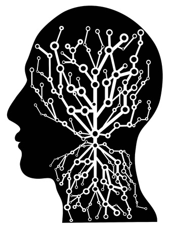 isolated human head with circuit tree from white background Stock Illustratie