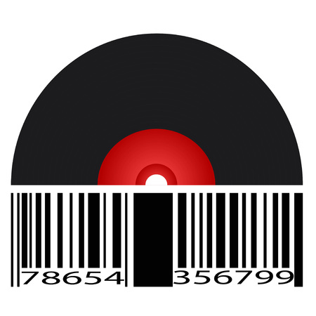 isolated black record barcode from white background 向量圖像