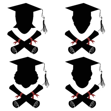 isolated graduated people head with diploma icon from white background
