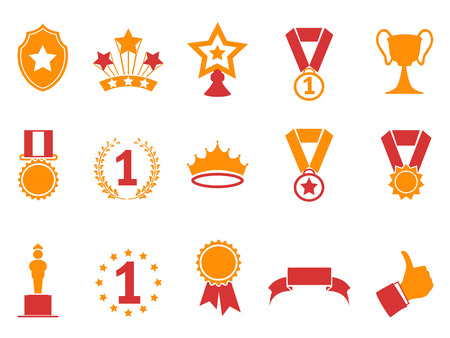 isolated orange and red color award icons set from white background