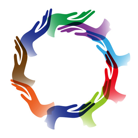 isolated Diversity hands circle background on white background Stock Illustratie