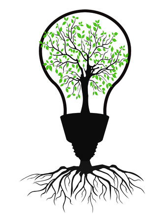 isolated the green light bulb tree from white background