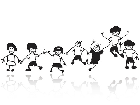 isolated doodle happy kids in a row from white background