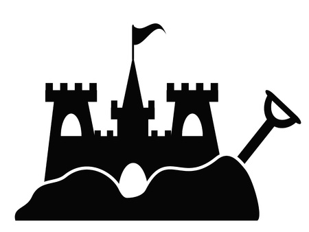 Icône de château de sable simple isolé de fond blanc