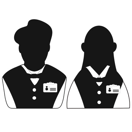 isolated waiter and waitress head icon from white background 向量圖像